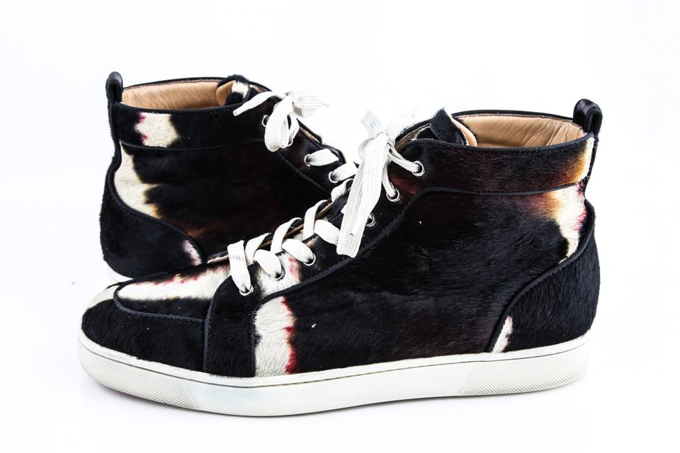 competitive price ee2b3 3e932 Christian Louboutin Black Rantus Orlato Ponyhair Sneakers Shoes 47% off  retail