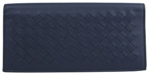 Bottega Veneta Dark Blue Leather Intercciaco Long Bifold Wallet 390878 4130