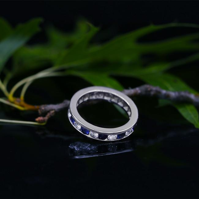 Item - 14k White Gold Fantastic Channel Set Blue Sapphires And Women's Wedding Band
