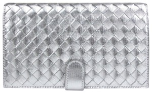 Bottega Veneta Women Metallic Silver Leather Woven Bifold Wallet 132357 1420