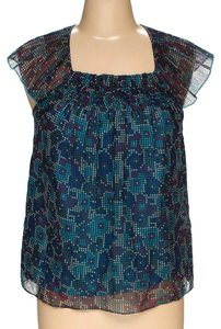 Juicy Couture Cutout Embellished Silk Top multicolored blue navy
