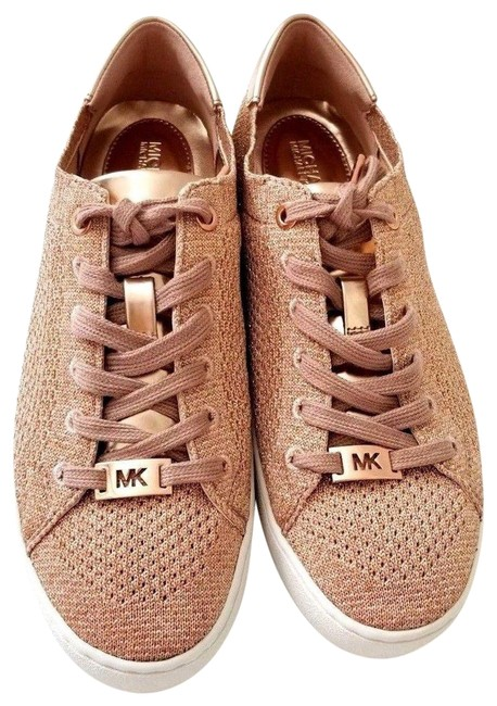 Item - Rose Gold New Glitter Metallic Soft Knit Sneaker Logo Flat Platforms Size US 6.5 Regular (M, B)