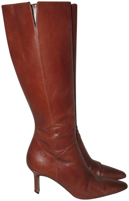 """Item - Brown 13"""" Calf Classy Leather High Aa Boots/Booties Size US 8.5 Narrow (Aa, N)"""