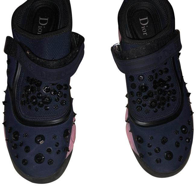 Dior Navy Blue and Pink Sneakers Size