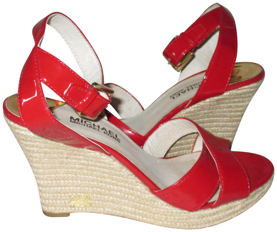 e218a928219 MICHAEL Michael Kors Red Sandals Espadrilles. Strappy with Mk Logo ...