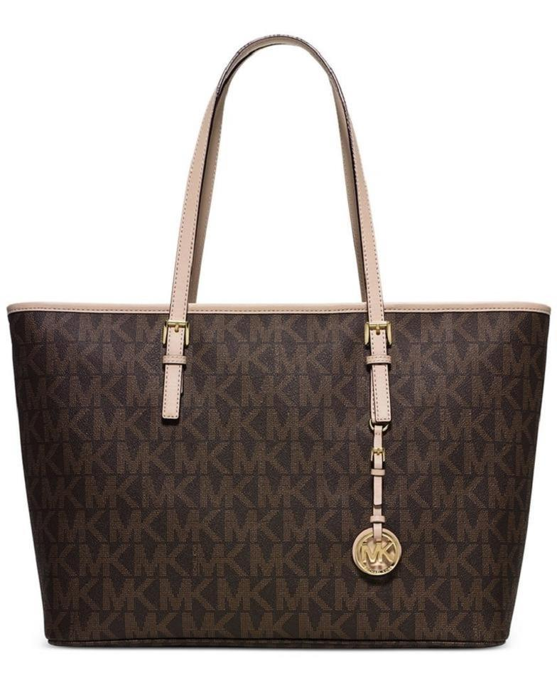 6dc898c3e938 Michael Kors Jet Set Travel Top Zip Multifunction Monogram Logo Brown  Signature Pvc and Leather Tote