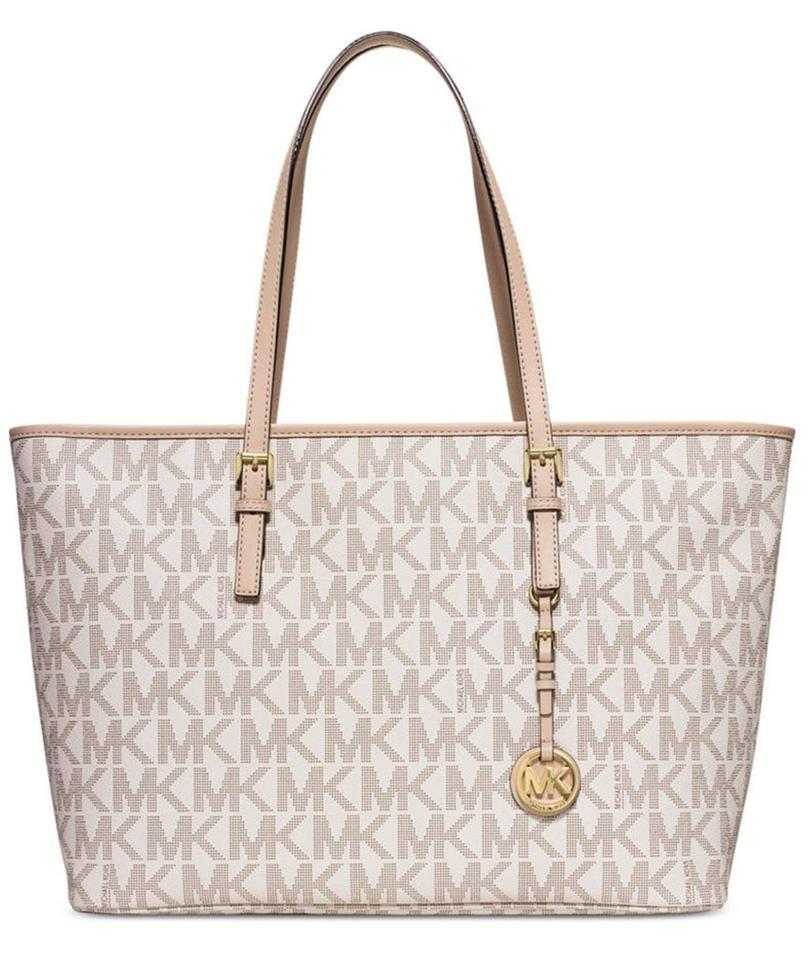 03d1e609b929 Michael Kors Jet Set Travel Top Zip Multifunction Monogram Vanilla ...