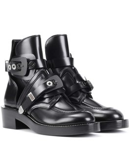 Balenciaga Buckle Silver Hardware Cut-out Black Boots