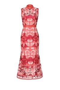 Marchesa Notte Midi Butterfly Coral Pink Dress