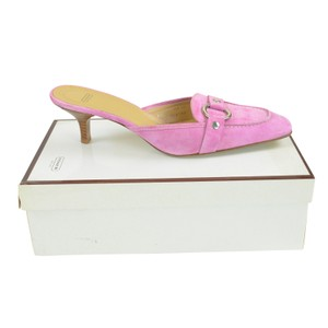 Coach Heels Pink Suede 8.5 Sandal Orchid Mules