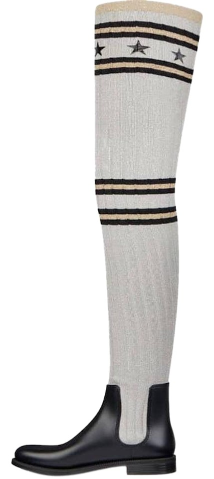 98a00598d53 Givenchy Grey Storm Black Silver Sock Knit Thigh High Otk Over Knee Rain  Boots Booties