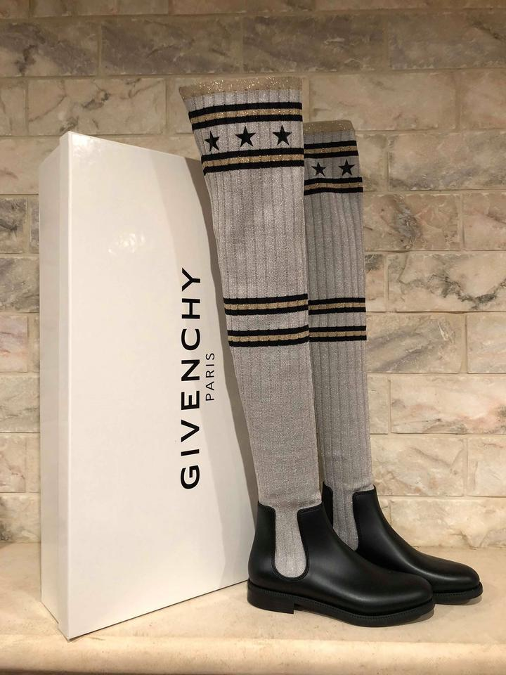 ccd7b0e7c9f Givenchy Grey Storm Black Silver Sock Knit Thigh High Otk Over Knee Rain  Boots Booties Size EU 35 (Approx. US 5) Regular (M