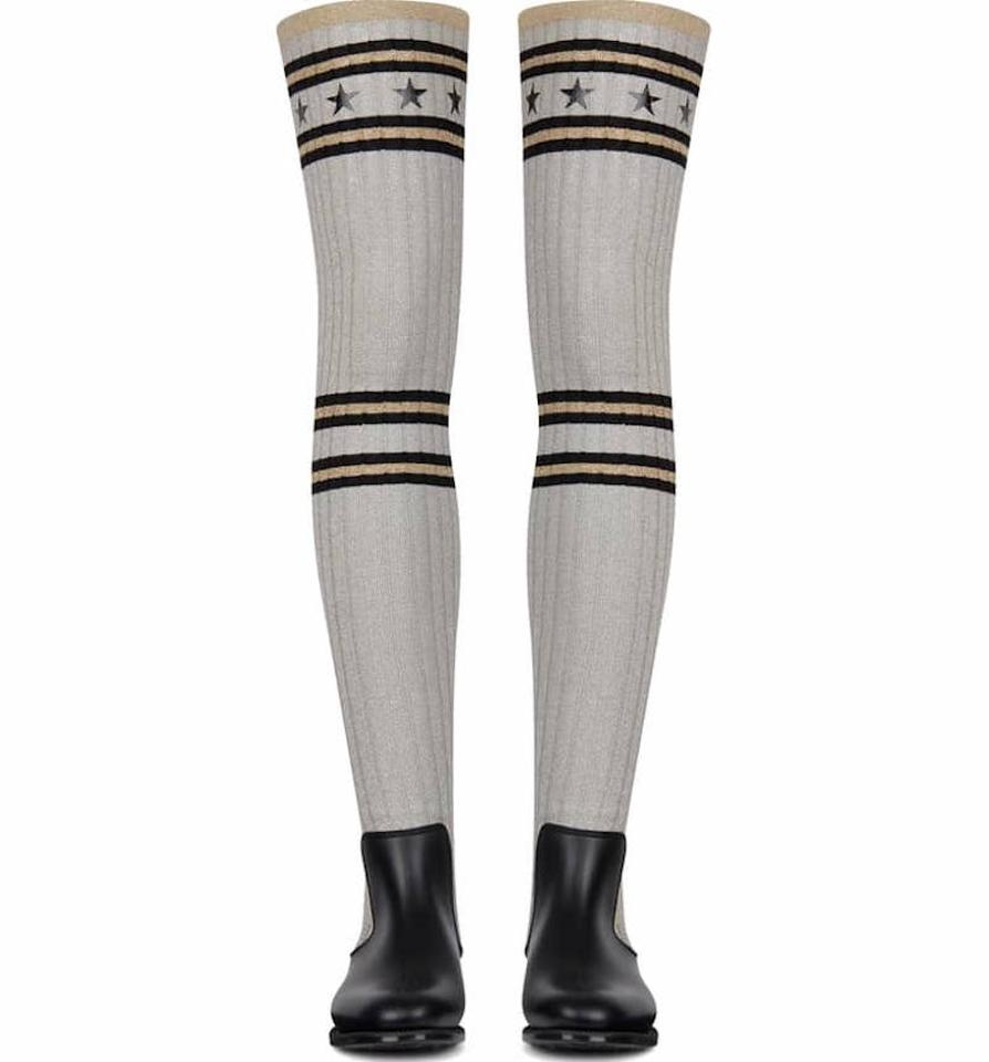 b9bca80c5 Givenchy Grey Storm Black Silver Sock Knit Thigh High Otk Over Knee Rain  Boots Booties