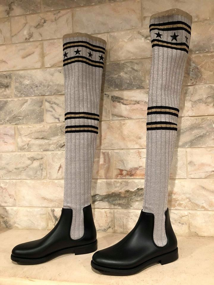 41b24a802 Givenchy Shark Lock Sock Thigh Thigh High grey Boots Image 11.  123456789101112