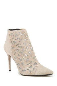 Stuart Weitzman Cutaway Leather Booties Suede Grey Pumps