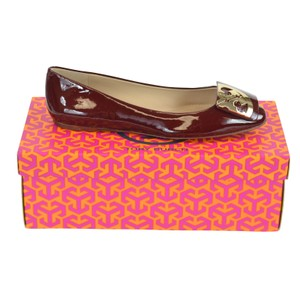 Tory Burch Patent Red Leather Size 6.5 Oxblood Flats