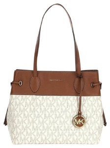 db7de5e91c2f Michael Kors Marina North South Large Drawstring Shoulder Vanilla Off-white  Signature Pvc and Leather Tote