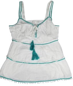 Willow & Clay Lined Flowy Tie Neck Embroidered Scoop Neck Top White Green