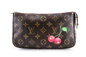 Louis Vuitton Leather Cherries Wristlet in Brown
