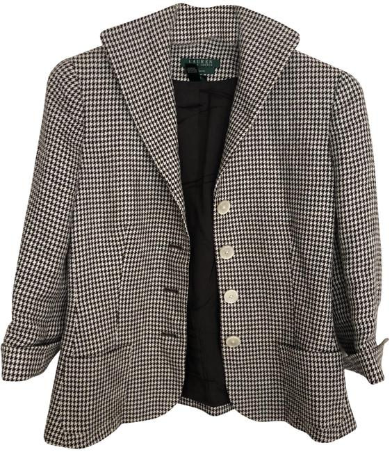 Item - Brown Linen Houndstooth Blazer Size 6 (S)