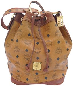 Mcm Drawstring Crossbody Bucket Cognac Messenger Bag
