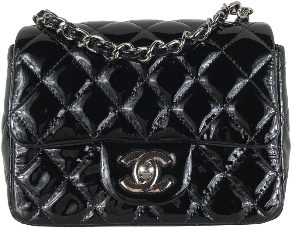 cff6aed5241146 Chanel Calfskin Quilted Mini Square Flap Black Patent Leather Cross ...