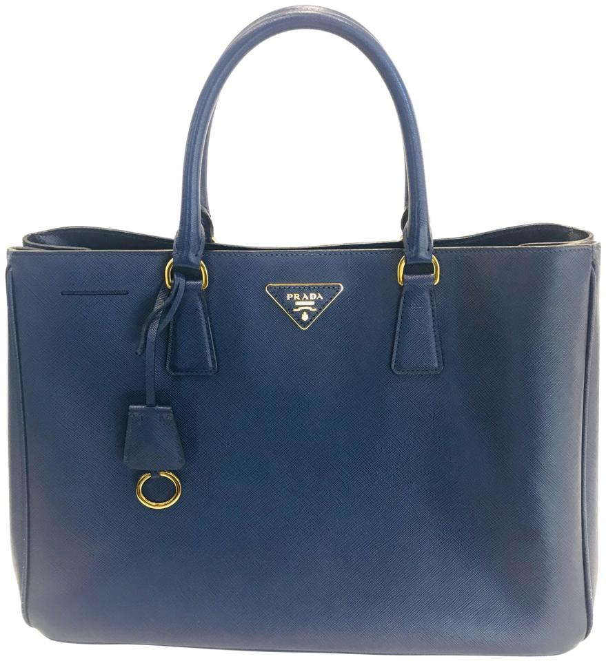 e3f3a576ed3a Prada Galleria Double Large Zip Bluette Leather Tote - Tradesy
