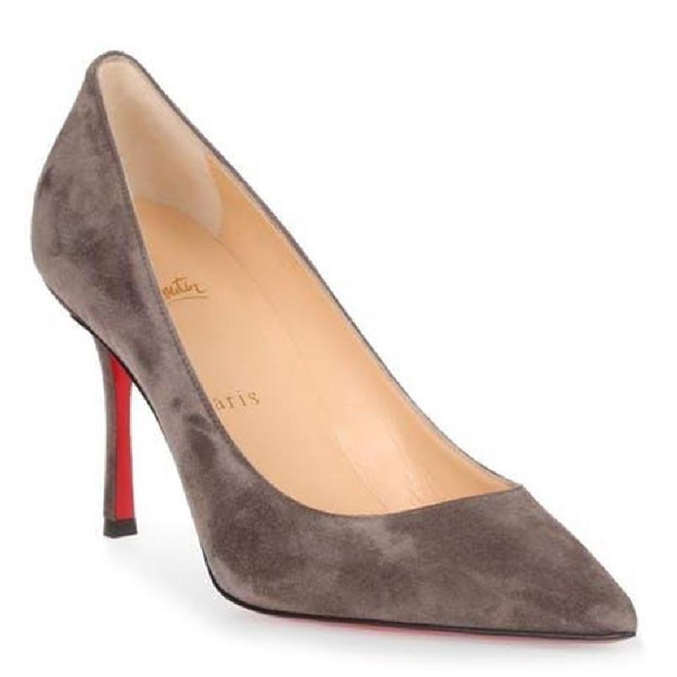 Christian Louboutin Roche Gray Decoltish 85mm Suede Classic A966 A966 Classic Pumps bc7e51