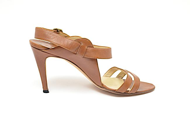 Item - Brown British Tan Leather Slingback with Straps Across Toes Pumps Size EU 37 (Approx. US 7) Regular (M, B)