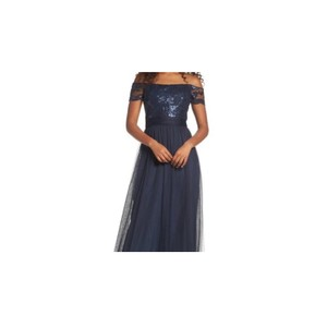Amsale Navy Sequin Tulle Ireland Feminine Wedding Dress Size 12 (L)