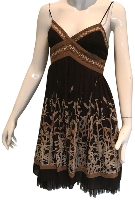 Item - Brown Pleated Skirt Mid-length Short Casual Dress Size 0 (XS)