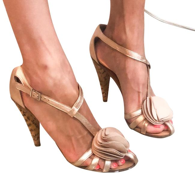 Item - Rose Women's Rosine Metallic Leather Suede Cone Sandals Size US 9 Regular (M, B)