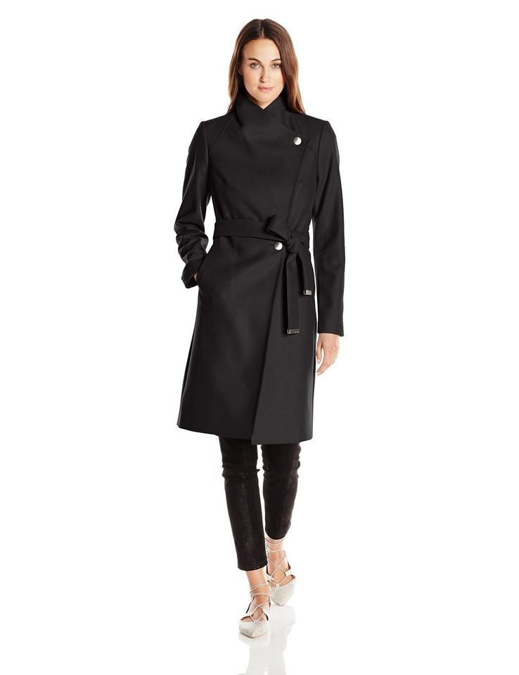 9a85539a39e460 Ted Baker Black Aurore Wool Blend Coat Size 8 (M) - Tradesy