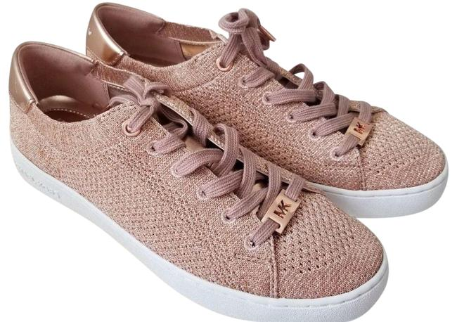 Item - Rose Gold New Glitter Metallic Soft Knit Sneaker Logo Flat Platforms Size US 6 Regular (M, B)