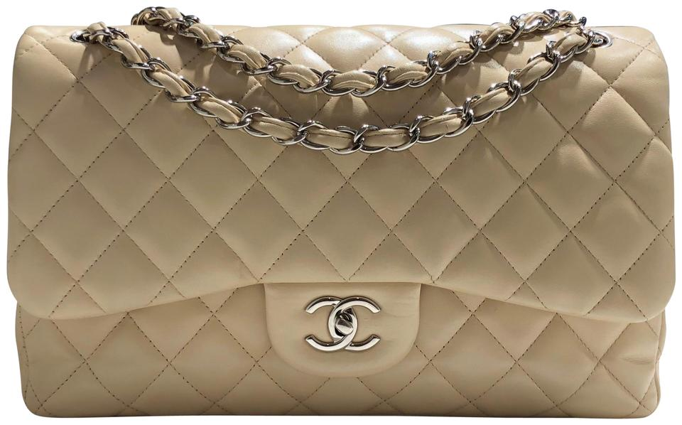 42eac82b3b26 Chanel Classic Jumbo Quilted Double Flap Silver Hardware Cream Light Beige  Lambskin Shoulder Bag