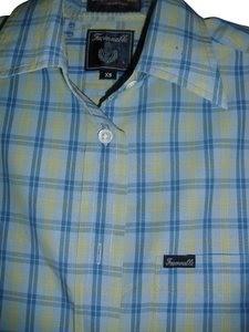 Façonnable Button Down Shirt blue yellow.checkered,plaid