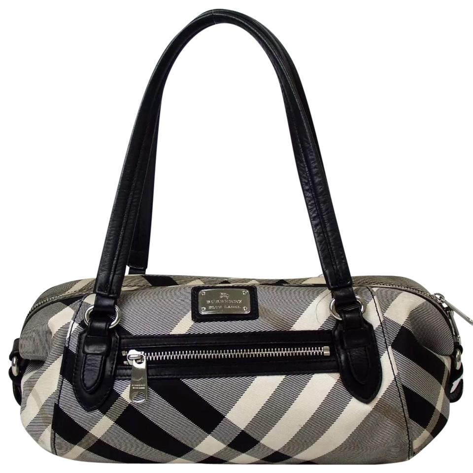 c4682248931 Burberry Blue Label Nova Check Handbag Black Canvas Leather Shoulder ...