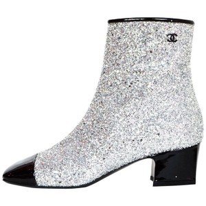 Chanel Stiletto Glitter Knee Square Toe silver Boots