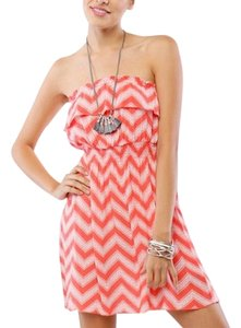 Timing short dress Coral on White on Tradesy
