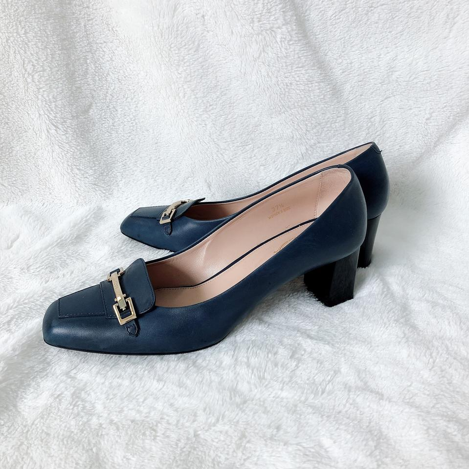 212b4e19aee Tod s Navy Stud-detail Block-heel Pumps Size US 7.5 Regular (M