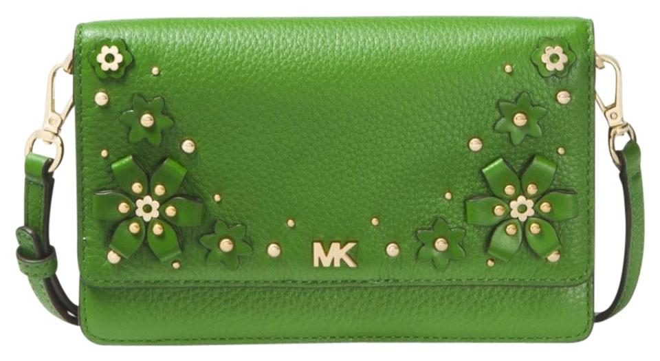 571a29b90911 Michael Kors Floral Embellished Pebbled Convertible True Green Leather  Cross Body Bag