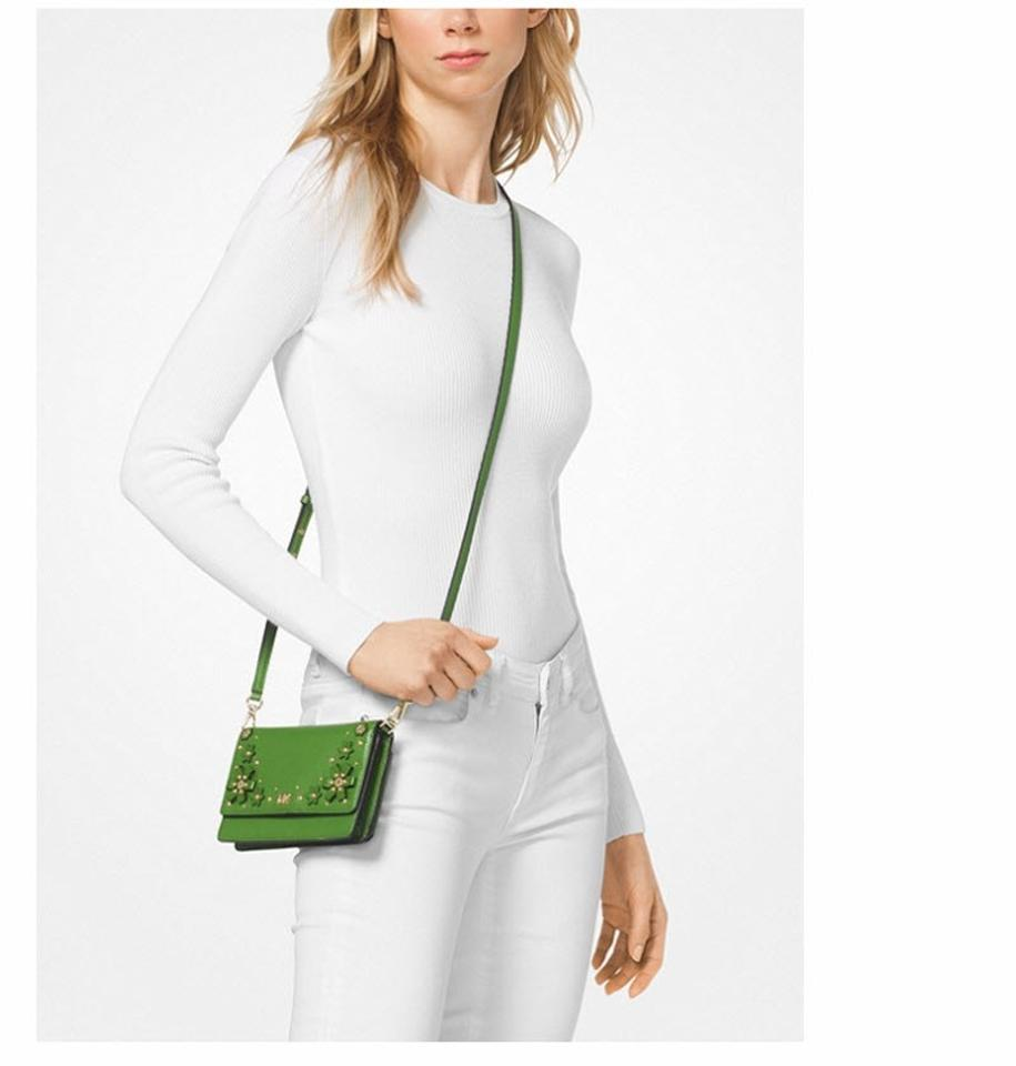 0b89f473cd2a Michael Kors Floral Embellished Pebbled Convertible True Green Leather  Cross Body Bag - Tradesy
