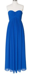 Blue Chiffon *reduced* Strapless Sweetheart Long Formal Bridesmaid/Mob Dress Size 0 (XS)
