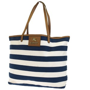 Burberry Tote in Blue Brown White