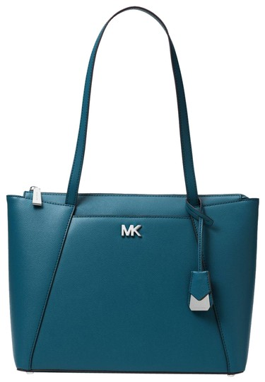 Preload https://img-static.tradesy.com/item/23973000/michael-kors-maddie-medium-30s8sn2t2l-teal-leather-tote-0-1-540-540.jpg