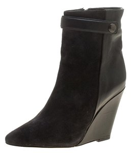 Isabel Marant Suede Leather Wedge Ankle Black Boots