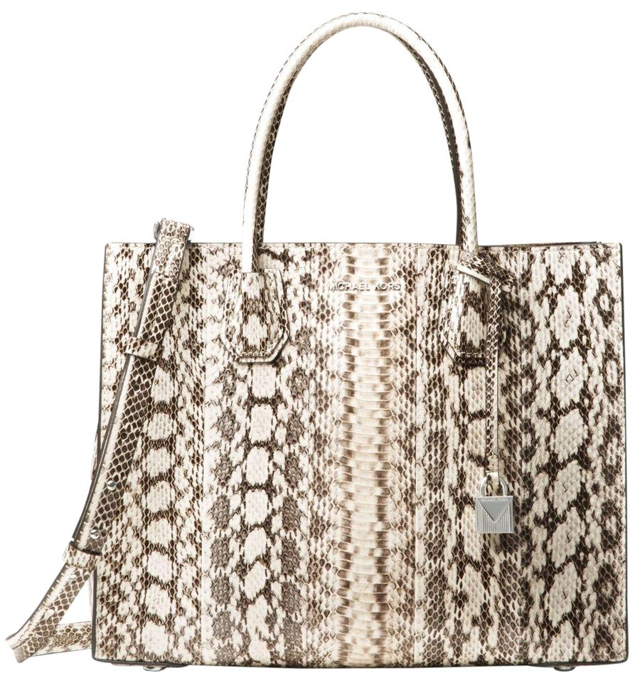 06cdb630a706 Michael Kors Mercer Snakeskin 30h7sm9t3l Natural Water Snake Tote ...