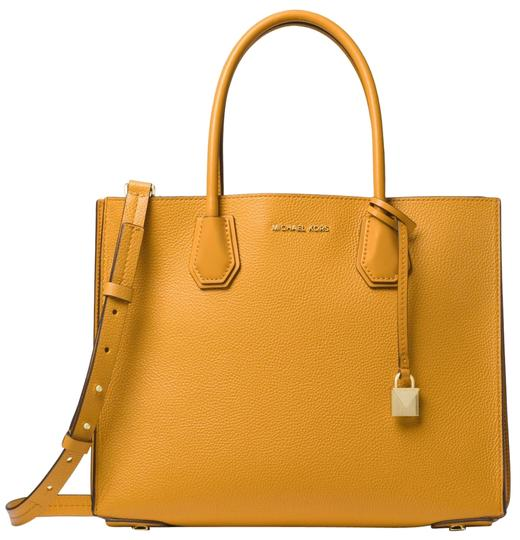 Preload https://item1.tradesy.com/images/michael-kors-mercer-large-pebbled-accordion-marigold-leather-tote-23973080-0-1.jpg?width=440&height=440