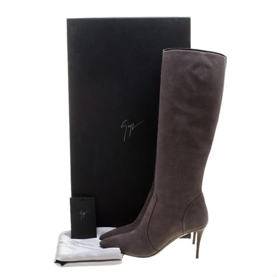 Giuseppe Zanotti Suede Pointed Toe Leather Grey Boots