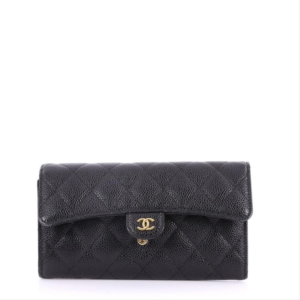 abf21eef31e7e6 Chanel Classic Flap Cc Gusset Wallet Quilted Long Black Caviar ...